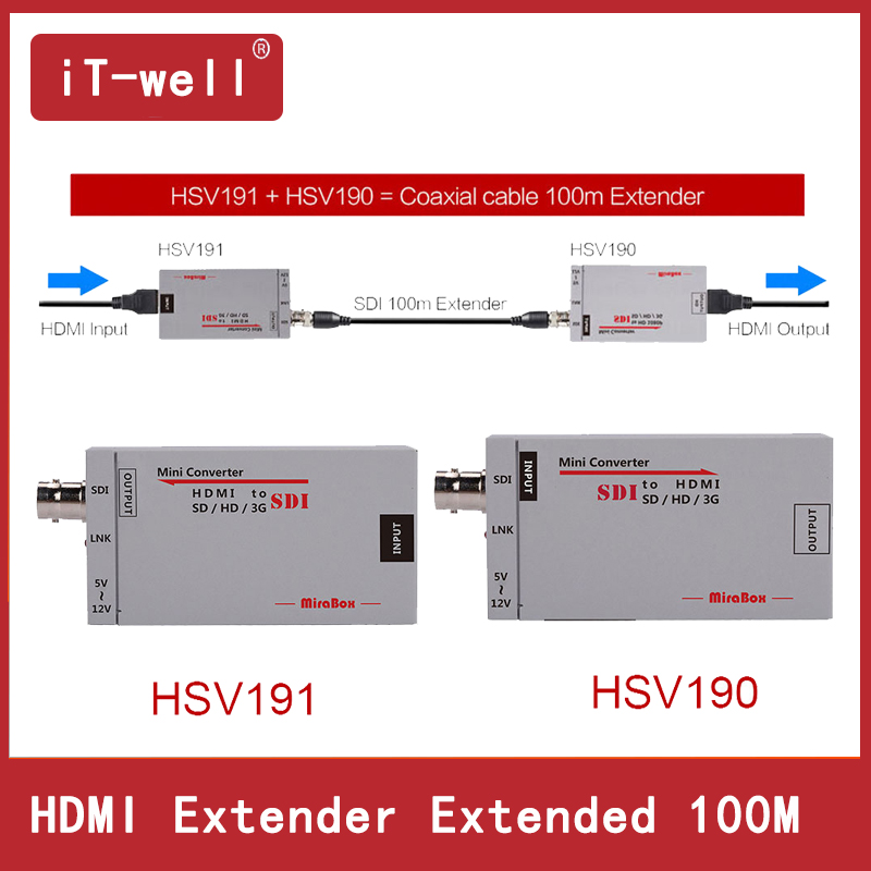 iT-well 100m HDMI over Coax Extender Mini Size HDMI to SDI Converter+SDI to HDMI Converter HDMI Extender over Coaxial Cable