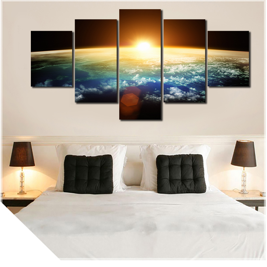 2016 5 Panels HD The Dawn Of The Universe Panel Modern Home Decoration Canvas Painting Wall Art Deco Free Delivery Unframed
