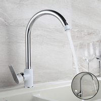 Haliaeetus 360 Kitchen Sink Faucet Single Hold Kitchen Faucet White Painting Kitchen Mixer Flexible Kitchen Faucet