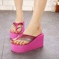 Mulheres Sandálias Da Moda verão de Ultra Saltos Altos Flip Flops Cunhas das Mulheres-Sapatos de salto alto