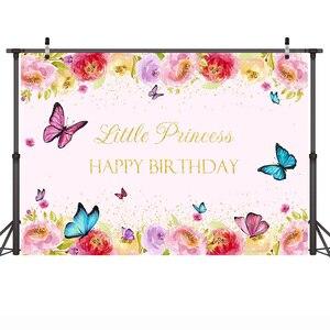 Image 2 - Joyeux anniversaire Photo fond pour petite princesse fleur toile de fond papillon bébé fête bannière arrière plans or paillettes printemps