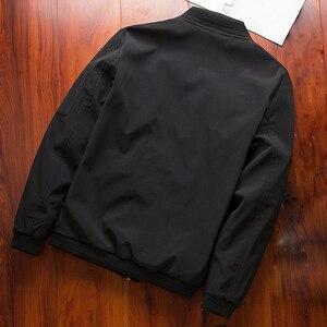 Image 2 - Erkekler bombacı ceket ince ince uzun kollu beyzbol ceketleri rüzgarlık fermuar rüzgarlık ceket erkek dış giyim marka giyim 6580