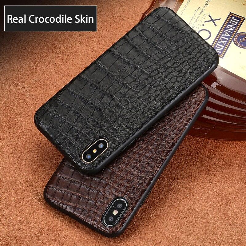 Coque de téléphone en cuir de crocodile naturel de luxe pour iphone X 11 11Pro 11 Pro MAX XS XR XSMax coque souple antichute 360 étui pour apple 7 6 8 6s plus - 3