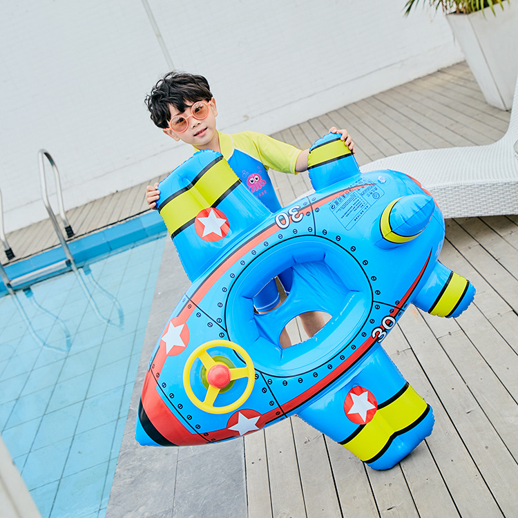 For 1-6years Old Kid INS Plane Inflatable Raft Swimming Ring Aircraft Boat Game Float Toys Child Summer Water Giant Pool Tube