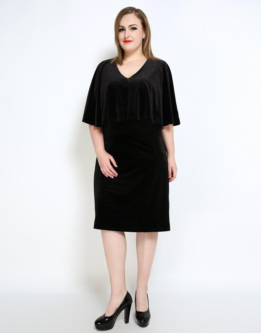 Nette Ann Frauen Sexy V ausschnitt Plus Samt Kleid Rot Schwarz ...