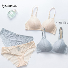 c996a1e08 YSANSCA Hot underwear set thin female small wireless bra push up cup tube  top comfortable lace sexy bra set