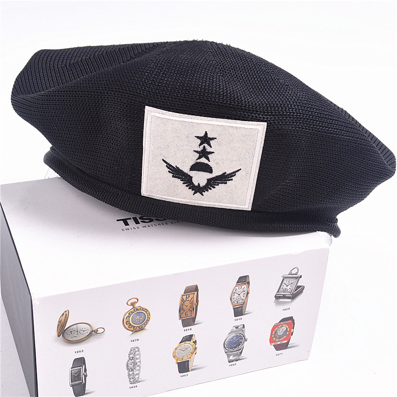 Navy-Caps Badge Beret Metal Dance-Hat Star-Mesh Breathable Women Summer Hot Sailor Spring