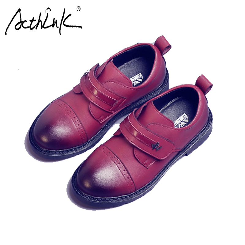 ActhInK New Kids Formal Leather Wedding Dress Shoes for Boys Brand Children Performance Shoes Boys England Shool Uniform Shoes