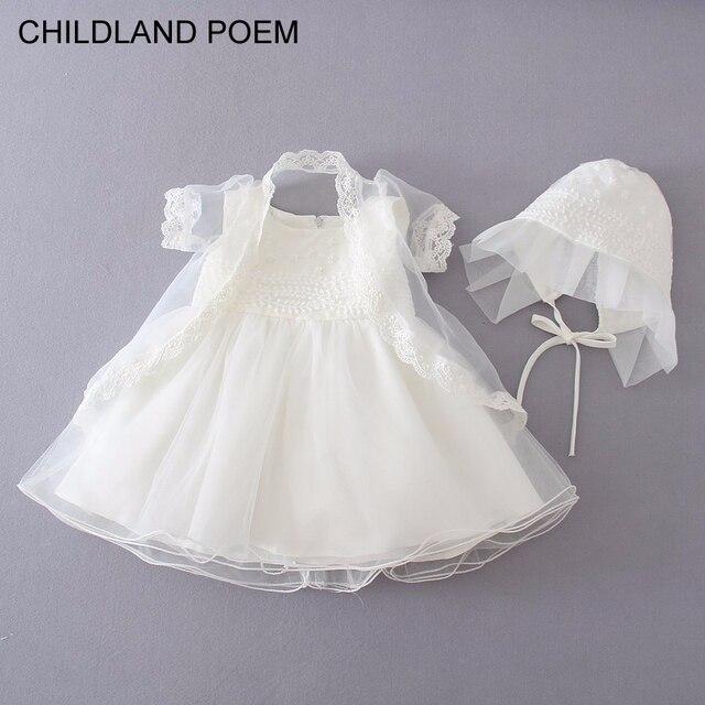 Лето девочка платье принцессы партия кружева туту крещение платье крещение платье младенца новорожденный ребенок 1 год день рождения платье 3 шт./компл.