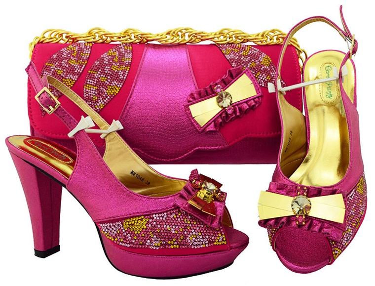 New Fuchsia color Italian Style Shoes With Matching Bags African High Heel Women Shoes and Bags Set For Prom Party MM1048 aidocrystal luxury handmade crystal sunflower high heel women italian shoes with matching bags