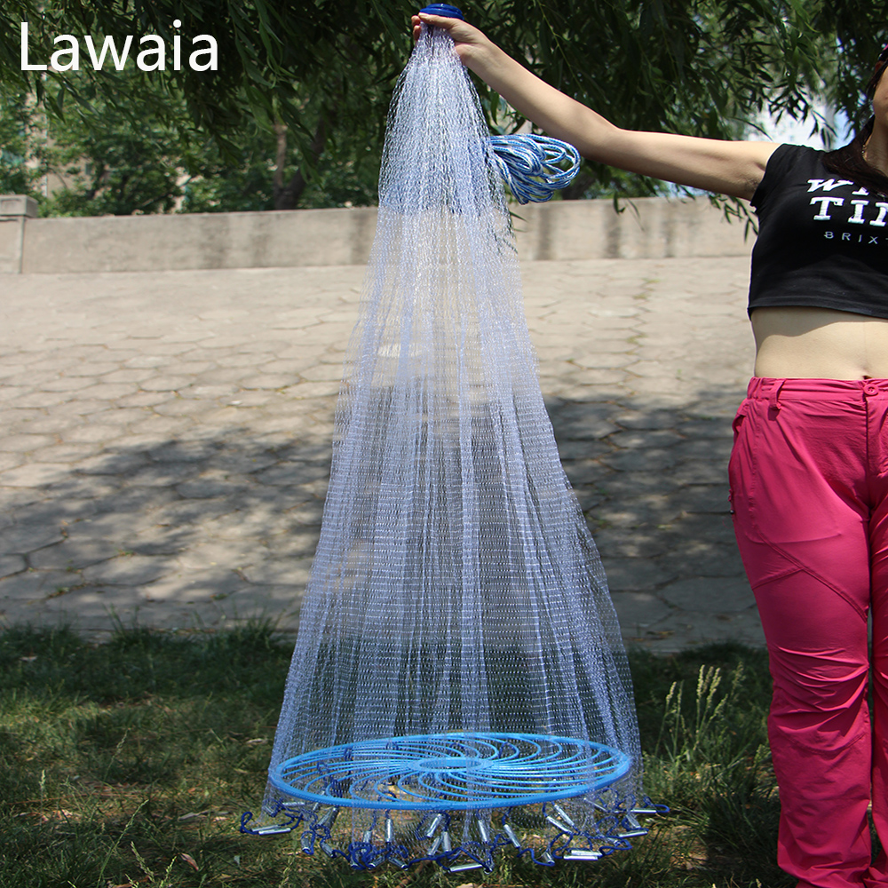 Lawaia Easy gooi Cast Net Fishing Network Tool Diameter 2.4-7.8m Amerikaans Stijl Visnet Small Mesh Outdoor