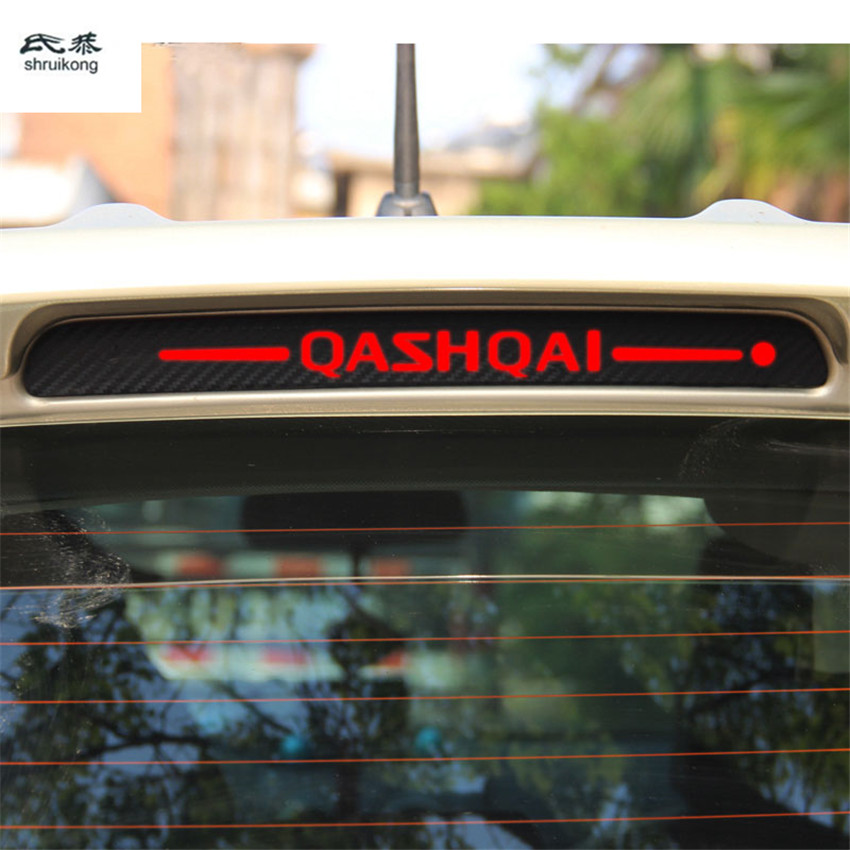 The carbon fiber car stickers of High mounted stop lamp High brake lights for 2009-2014 Nissan Qashqai T10