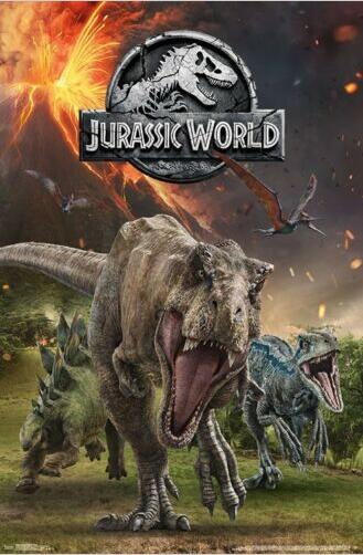 С рисунком динозавра из мультфильма «Парк Юрского периода», группа фильм Шелковый постер декоративная стена картина 24x36inch