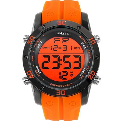 Mode Montres Hommes Orange Casual Numérique Montres de Sport LED Horloge Mâle Montre Automatique 1145 Hommes Montre-Bracelet Étanche