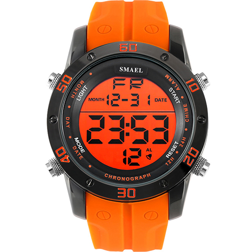 Orologi di moda Gli Uomini di Orange Casual Digitale Orologi Sport LED Orologio Uomo Automatico Data Orologio 1145 Orologio Da Polso Da uomo Impermeabile