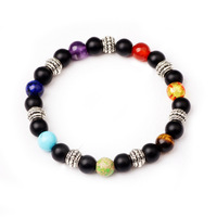 Natural Stone 7 Chakra Bracelet Men Healing Balance Beads Reiki Buddha Prayer Natural Stone Yoga Bracelet