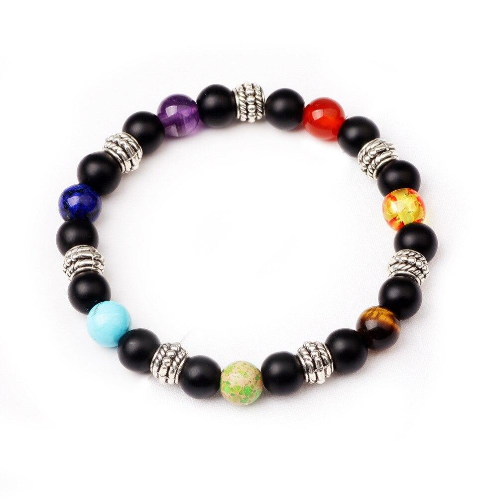 Pierre naturelle 7 Chakra Bracelet hommes guérison équilibre perles Reiki bouddha prière pierre naturelle Yoga Bracelet femmes hommes bijoux