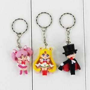 Image 5 - 5pcs/lot Cartoon Anime Sailor Moon Mars Jupiter Venus Mercury Keychains PVC Figures Toys Key Ring Pendants Gift for Kids