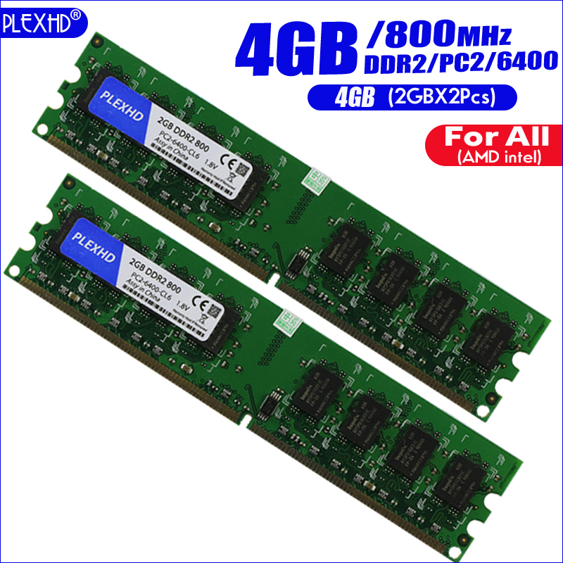 PLEXHD 4G 4GB(2GBX2pcs) DDR2 pc2 6400 800Mhz (Wide version) For Desktop PC pc2-6400 ddr2 800 MHZ (For intel amd) High Compatible