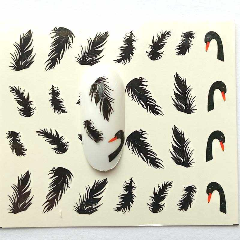 Nail Stickers on Nails Blooming Feather Black swan   Stickers for Nails  Nail Art Water Transfer Stickers Decals B29/B30/B31/B32
