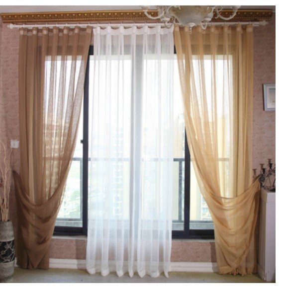 Hot Sale High Quality Desert Gold Solid Colored Vertical Stripes European Tulle Curtain For Living Room Linen Voile Curtains