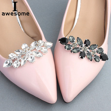 2 Colors Handmade Rhinestone Flower Decorative Shoe Clips Crystal Charm Elegant Wedding Shoes Metal Decorations Accessories