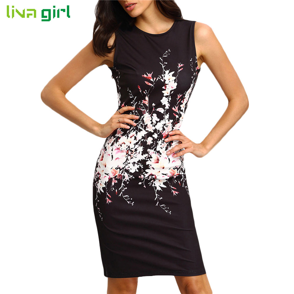Buy Cheap Summer Sleeveless Mini Dress Sexy Women O Neck Floral Print Bodycon Dresses Ladies Evening Party Dress Vestidos Size S-XL Dec22