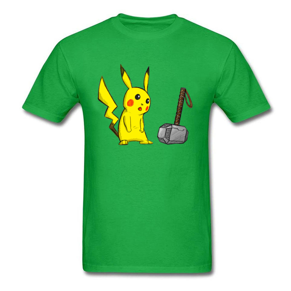 What If Pikachu Is Thor? T-shirts Men Funny Tops T Shirt Hammer Printed On Mens Green Tshirt Pokemon Marvel Cartoon Tee Slim Fit image