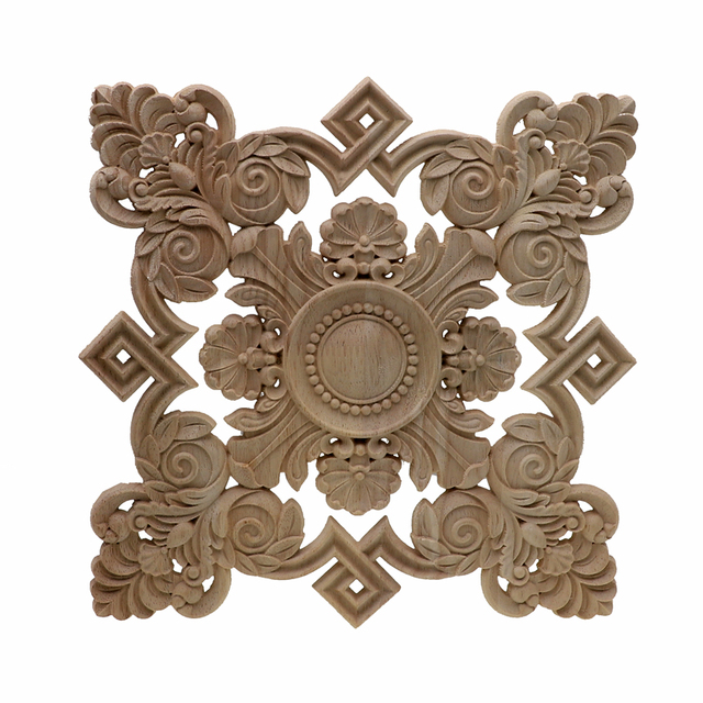 RUNBAZEF Square Unpainted Wood Carved Decal Corner Onlay Applique Frame For Home Furniture Wall Cabinet Door Decor Crafts 1