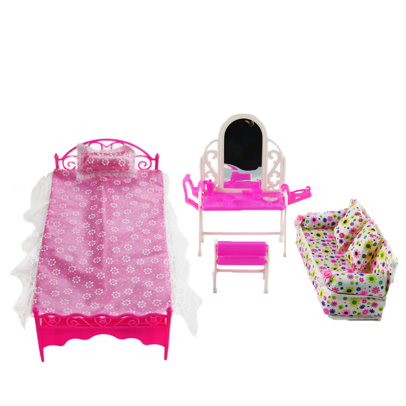 Envío gratis 3 Items / Lot Doll Doll Doll Bed + Dressing Table + Flower Cloth Sofa Girl Gift Kid Play House Toy para 12 pulgadas Doll