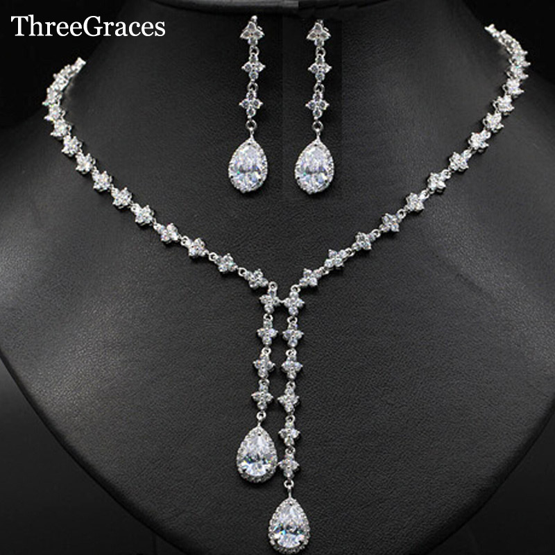ThreeGraces 4 Leaf Shape CZ Stone Long Drop Necklace Earrings Bridal Wedding Evening Party Jewelry Sets For Women JS065 pair of gorgeous chic style faux gem embellished women s leaf shape drop earrings
