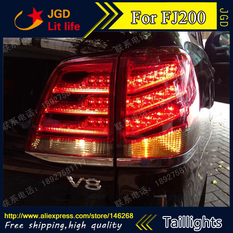 Car Styling tail lights for Toyota LAND CRUISER FJ200 2012 LED Tail Lamp rear trunk lamp cover drl+signal+brake+reverse car rear trunk security shield cargo cover for toyota land cruiser lc200 2008 2017 black beige high qualit auto accessories