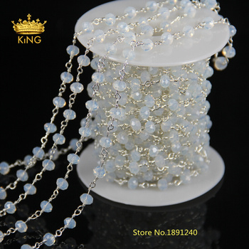 Hot ! White Opal Crystal Quartz Faceted Beaded Rosary Chains Plated Gold Silver or Brass Chain Necklace JD0141