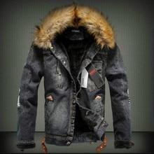 2016 осень-зима приток мужчин Повседневная джинсовая куртка зимняя утепленная джинсовая куртка в стиле ретро куртка Надьямарош воротник кашемировое пальто