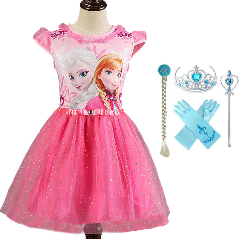 2855ae5c74550 Girl Dresses Summer Kid Clothes Princess Anna Elsa Dress Snow Queen Cosplay  Costume Wedding Party Children