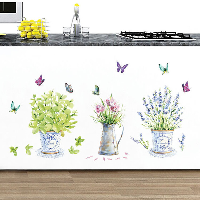 DIY wall stickers home decor potted flower pot butterfly kitchen window glass bathroom decals waterproof Free shipping