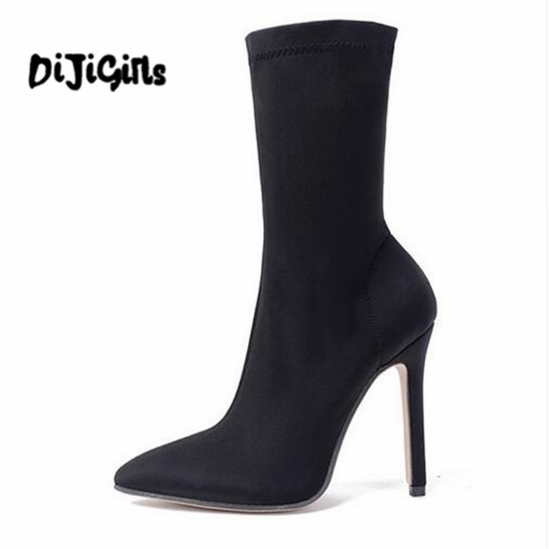 2018 Stretch Fabric Mid-Calf Women Boots Pointed Toe Fashion Stiletto High Heels Sexy Winter Boots Size 35-40 fonirra women mid calf stretch fabric sock boots pointed toe sexy brand design high heel women winter boots ladies shoes 670