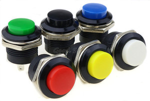 Image 2 - 6 pcs R13 507 רגעי SPST לא אדום שחור לבן צהוב ירוק עגול הכחול שווי כפתור מתג AC 6A/125V 3A/250V 6 צבע
