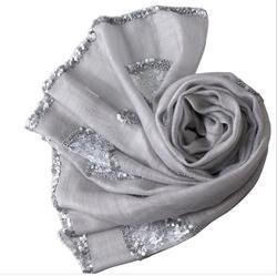 الحرير الحقيقي النساء الصيف وشاح طويل مع الترتر الصلبة شال
