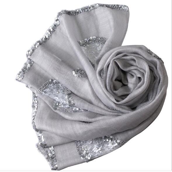 Seda real mujeres verano largo con lentejuelas bufanda mantón sólido