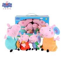 лучшая цена Original Peppa Pig George Stuffed Plush Toys Cartoon Animal Family Friend Pig Party Dolls For Girl Children Birthday Gifts