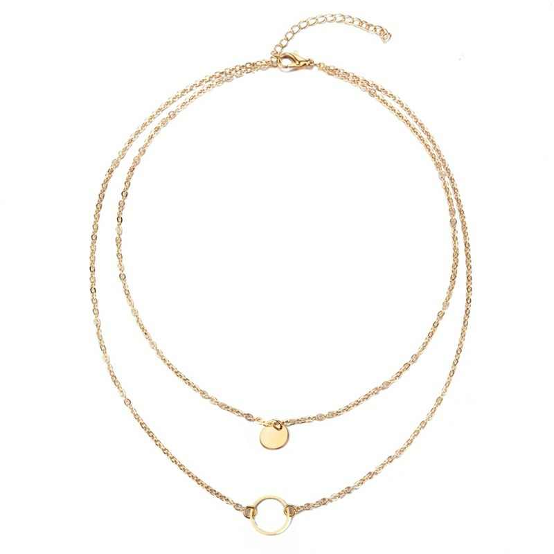 2018 New Gold Coin Sequins Double Layer Necklace For Women Circle Layer Chocker Necklaces collares colar collier femme collana