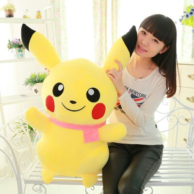 new arrival huge 90cm cartoon pikachu pink scarf design plush toy soft doll hugging pillow birthday gift b0815 купить