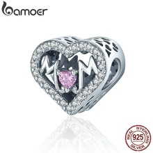 BAMOER Authentic 100% 925 Sterling Silver Heart MOM Letter Clear CZ Charm Fit Charm Bracelet DIY Jewelry Mother Gift SCC395(China)