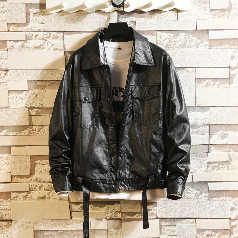 Fashion Men's Leather Jacket Spring Autumn Casual Loose Motorcycle Mens Faux Fur Coats Hip Hop Big Size 5XL