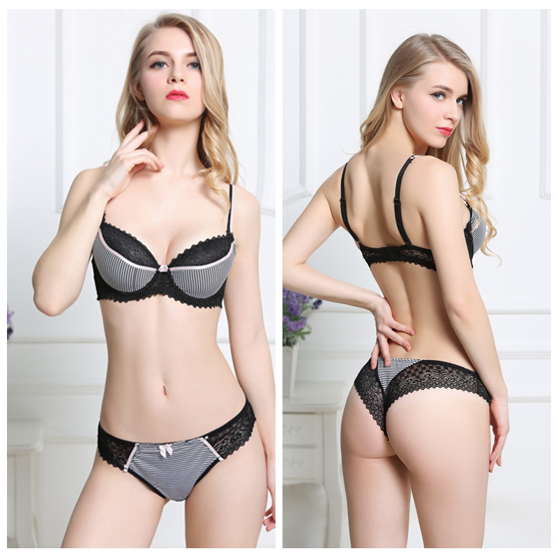 A B C Cup Sexy Thin   Bra   and   Briefs     Sets   Lace Bow Floral Underwear push up   Bra     Set   Lingerie For Women Size 34 36 38 40 42 44