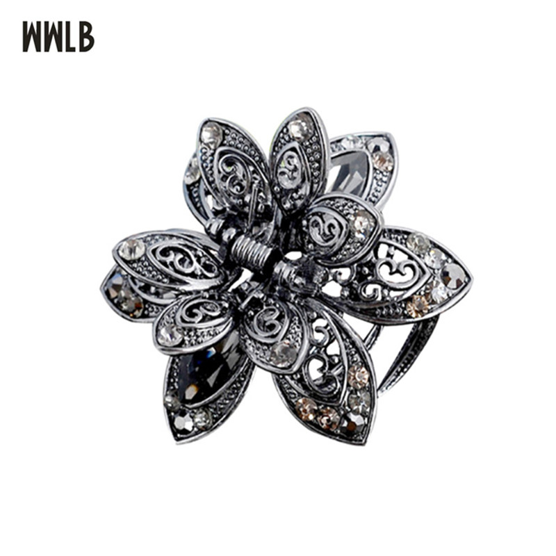 High Quality Ancient Silver Flowers Hair Claws For Women Hair Ornaments Crystal Crab Clip Bride Wedding Hair Jewelry Accessories