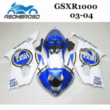 Free customize Fairing parts for Suzuki K3 2003 2004 GSX R1000 03 04 GSXR 1000 K4 white blue Fairings OY06