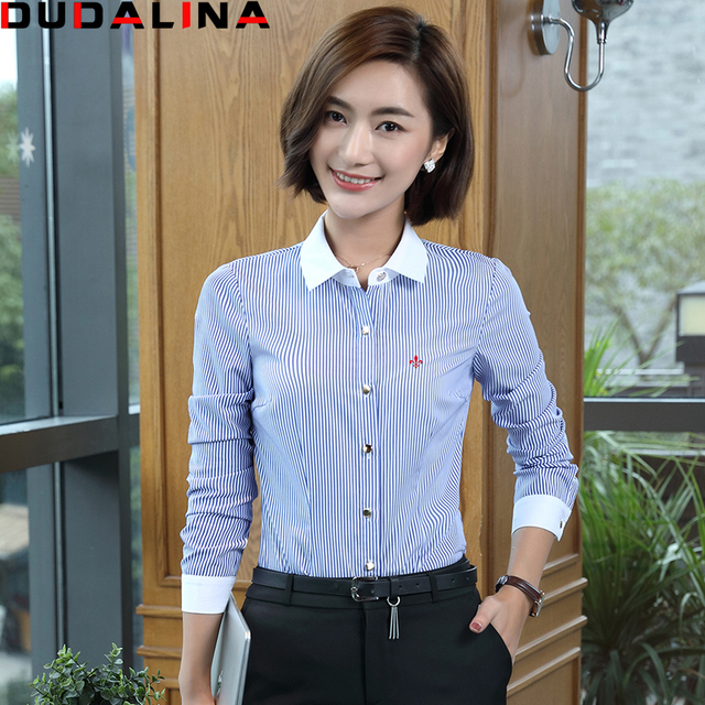 Novas Blusas Femininas Camisas Dudalina Camisa de Manga Longa Mulheres  Roupas Lutar Cor Azul Listrado Moda 58604081d6e