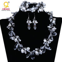 fashion pearl jewelry set for women necklace ,bracelet ,earrings charm stone accessaries